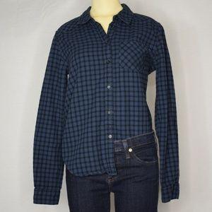 💙 Paige Button-Down Dark Blue Checkered Flannel S